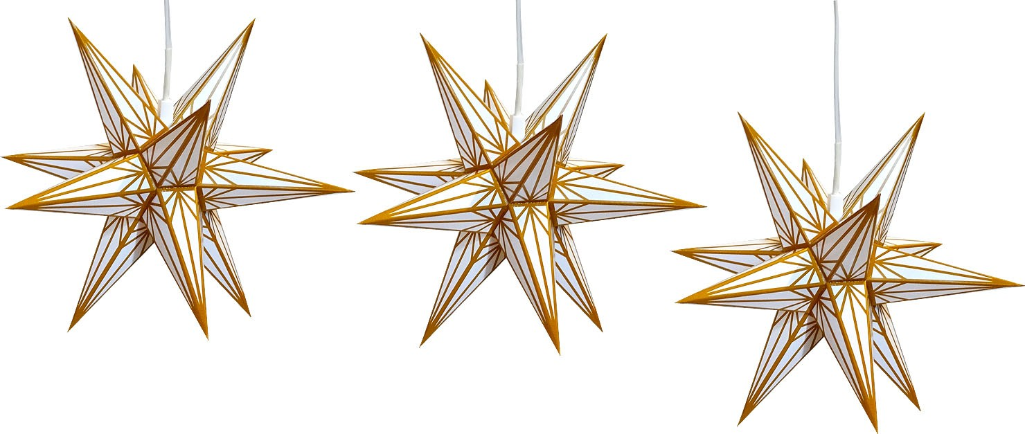 Hasslauer Advent star, set of 3, white with gold pattern