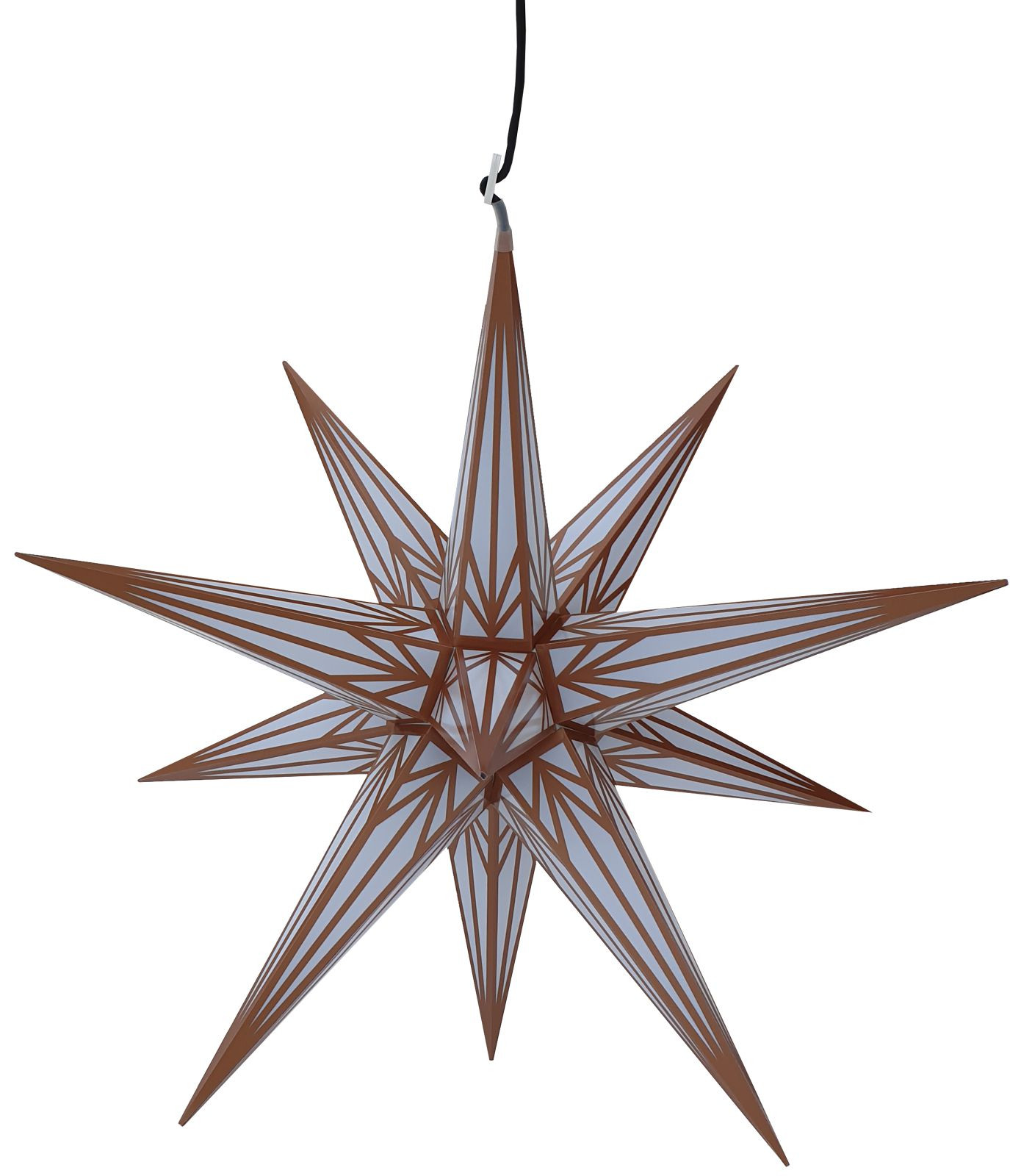 Big Advent star for outside, white with copper pattern