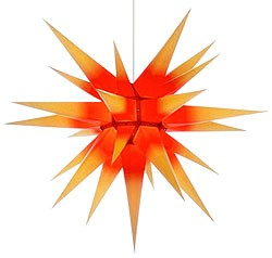 Herrnhuter star, yellow with red core