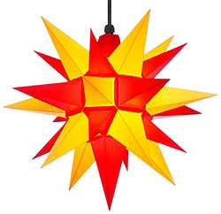 Herrnhuter star A4 for outside, yellow/red