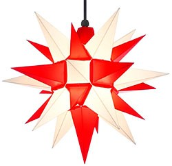 Herrnhuter star A4 for outside, white/red
