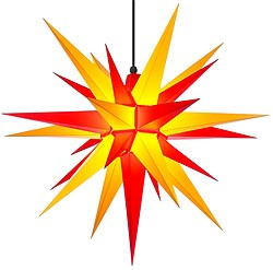 Herrnhuter star A7 for outside, yellow/red
