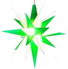 small Herrnhuter star, green/white, LED