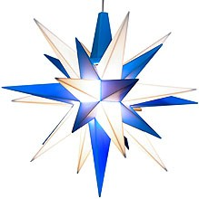 small Herrnhuter star, blue/white, LED