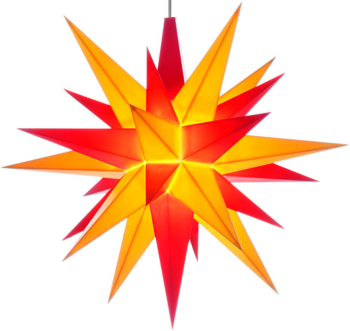 small Herrnhuter star, yellow/red, LED