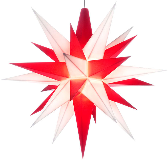 small Herrnhuter star, red / white, LED