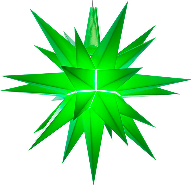 small Herrnhuter star, green, LED