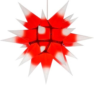 Herrnhut star, white with red core