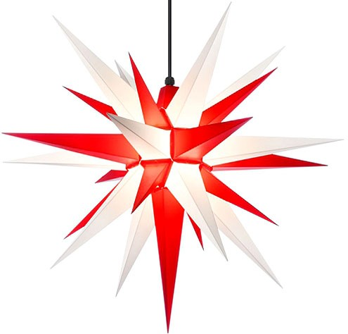 Herrnhut star, for outside, white/red