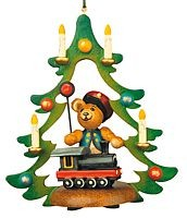 tree ornament, teddy - train guard