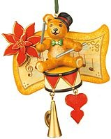 tree ornament, teddy - drummer