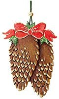 tree ornament, fir cone with ribbon