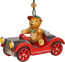 tree ornament, car with teddy
