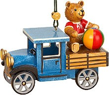 tree ornament, truck with teddy
