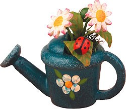 miniatures - watering can with daisies
