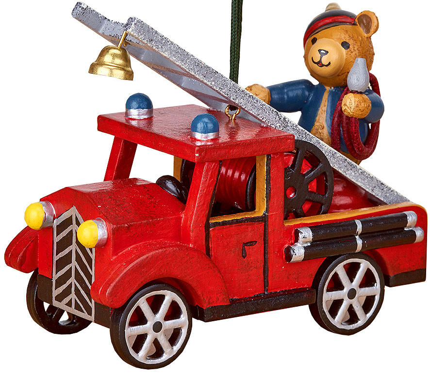 tree ornament, fire engine with teddy