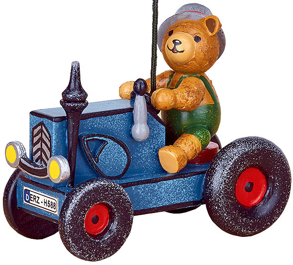 tree ornament, tractor with teddy