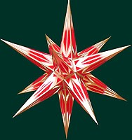 Hasslauer Advent star, red/white with golden pattern