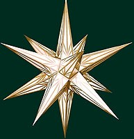 Hasslauer Advent star, white with golden pattern
