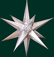 Hasslauer Advent star, white with silver pattern