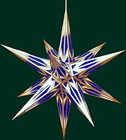Hasslauer Advent star, blue/white with golden pattern