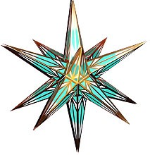 Hasslauer Advent star, mint turquoise/white with gold pattern