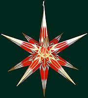 big Hasslauer Advent star for outside, red/white with golden pattern