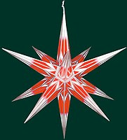 big Hasslauer Advent star for outside, red/white with silver pattern