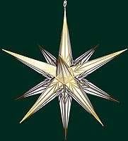 big Hasslauer Advent star for outside, white with golden pattern
