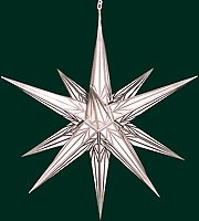 big Hasslauer Advent star for outside, white with silver pattern