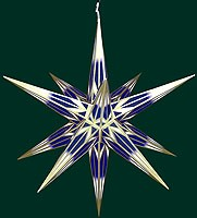 big Hasslauer Advent star for outside, blue/white with golden pattern