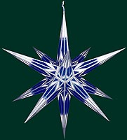 big Hasslauer Advent star for outside, blue/white with silver pattern