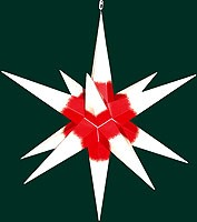 big Hasslauer Advent star for outside, white with red core