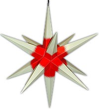 big Hasslauer Advent star for outside, cream-coloured with red core