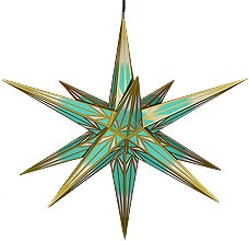 big Hasslauer Christmas star for outside with Seiffen colour motif, mint turpuoise/white with gold pattern