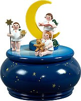 music box - angel trio with moon / blue with stars