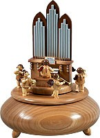 music box - organ with angels, natural coloured