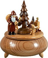 music box Santa and two angels with sledge, natural coloured