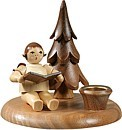 Candlestick with little tree - Musician angel sitting / natural