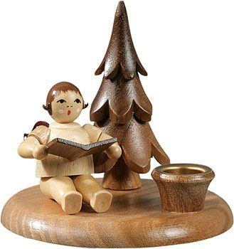 Candlestick with little tree - Musician angel sitting / natural without-crown