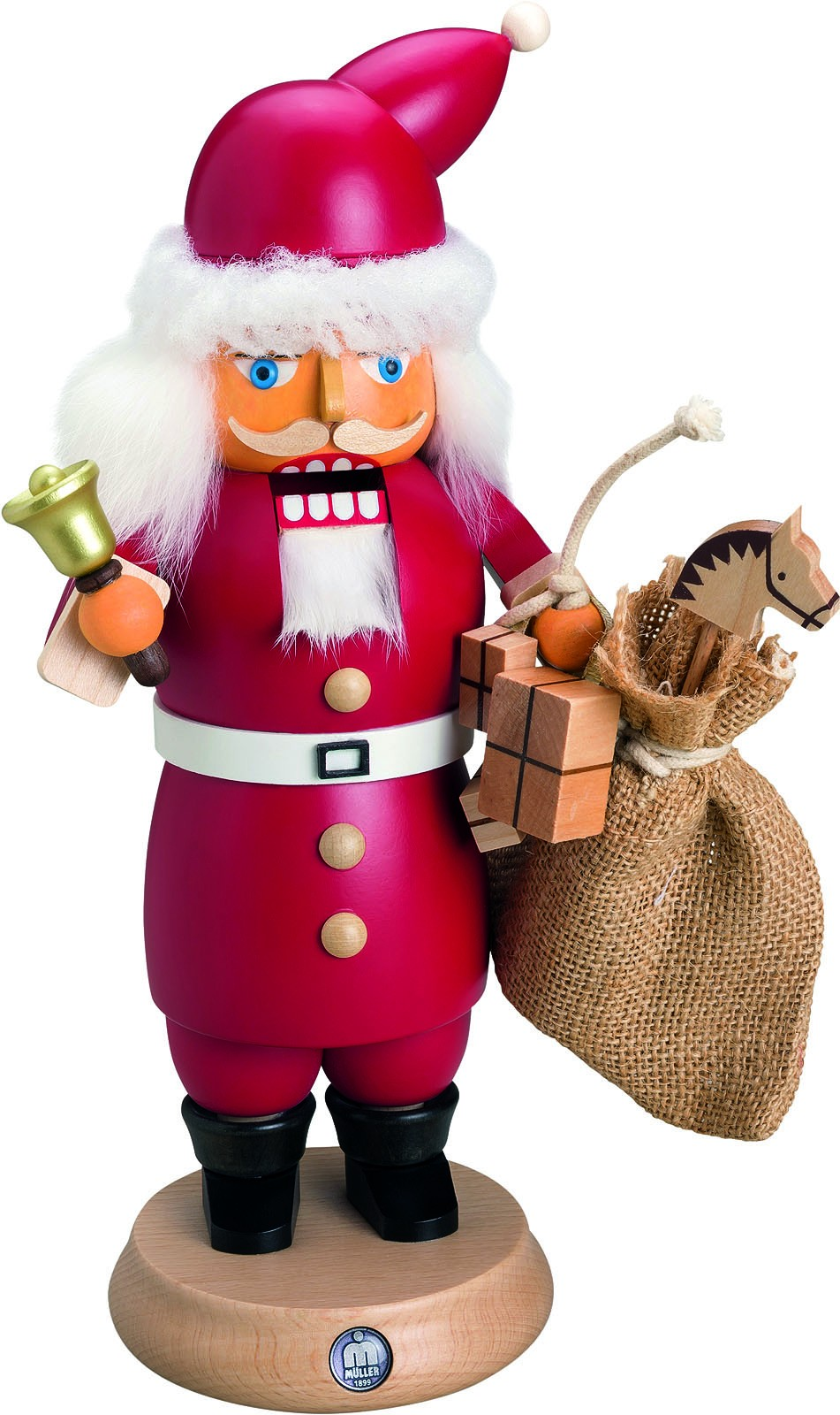 smokecracker Santa with bell and sack of toys