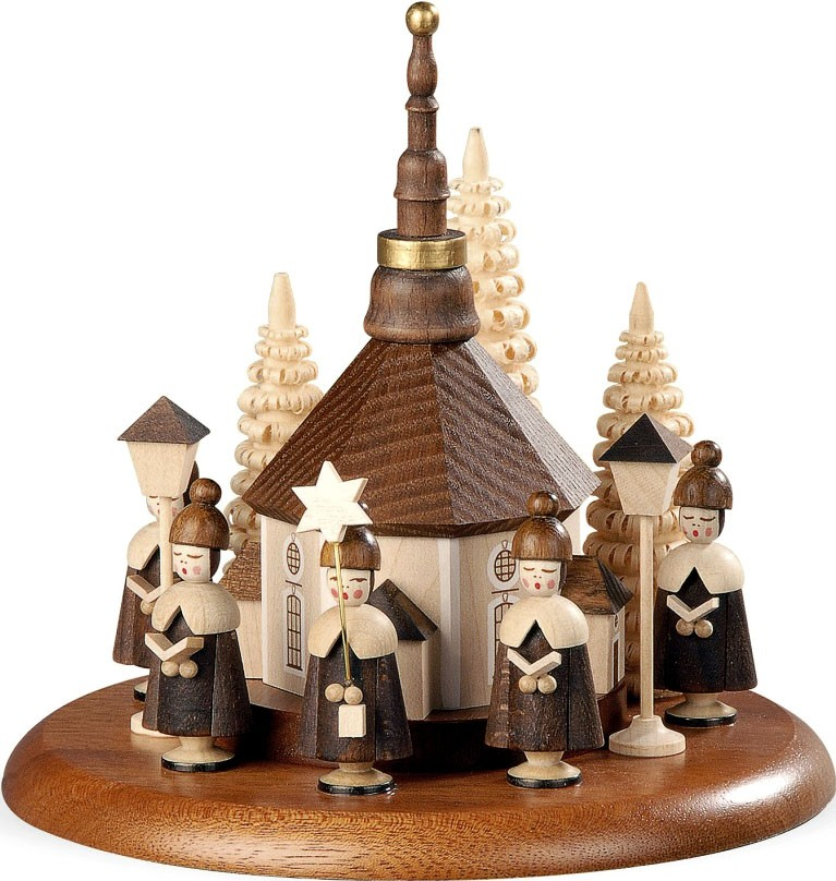 motif platform for electr music boxes, carolers with Seiffen church, natural