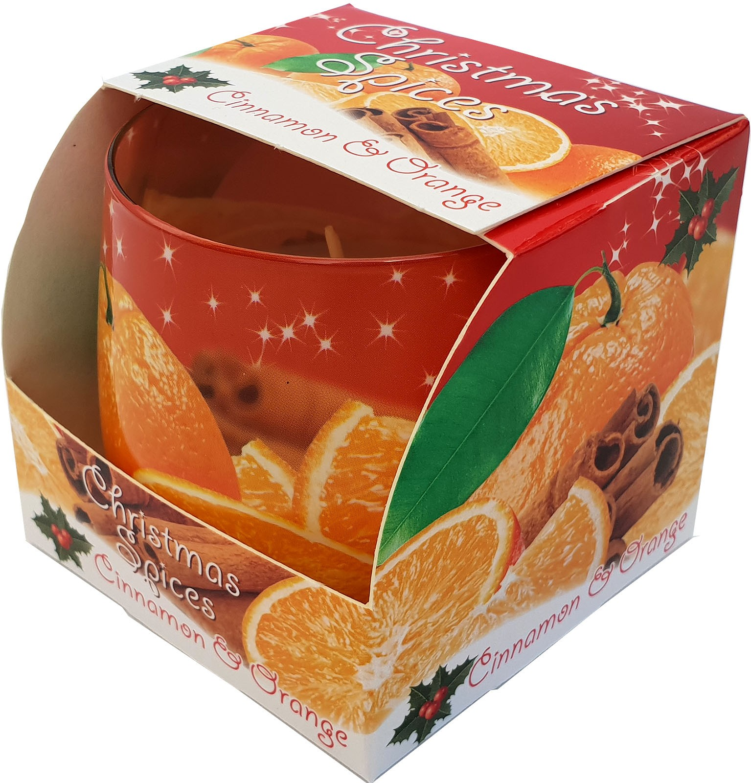 aroma candle Christmas spices - cinnamon/orange, small glass