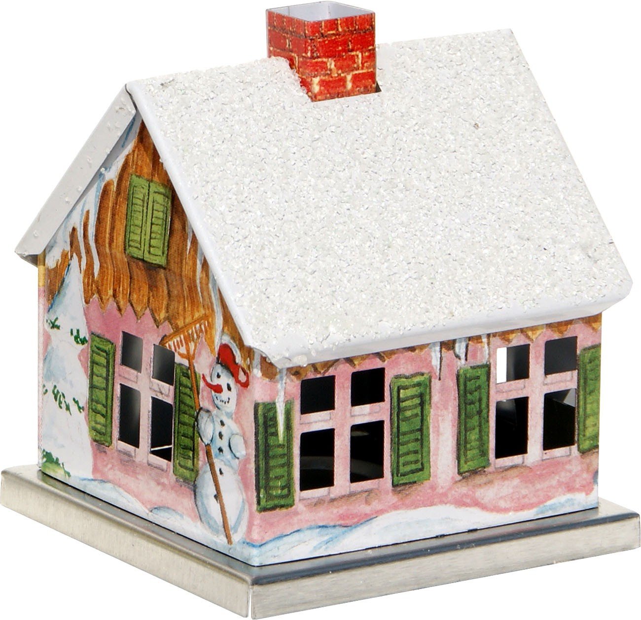 incense smoking house winter design - winter house with snowman