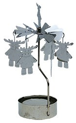 iron rotary ornaments with tealight silver - reindeer