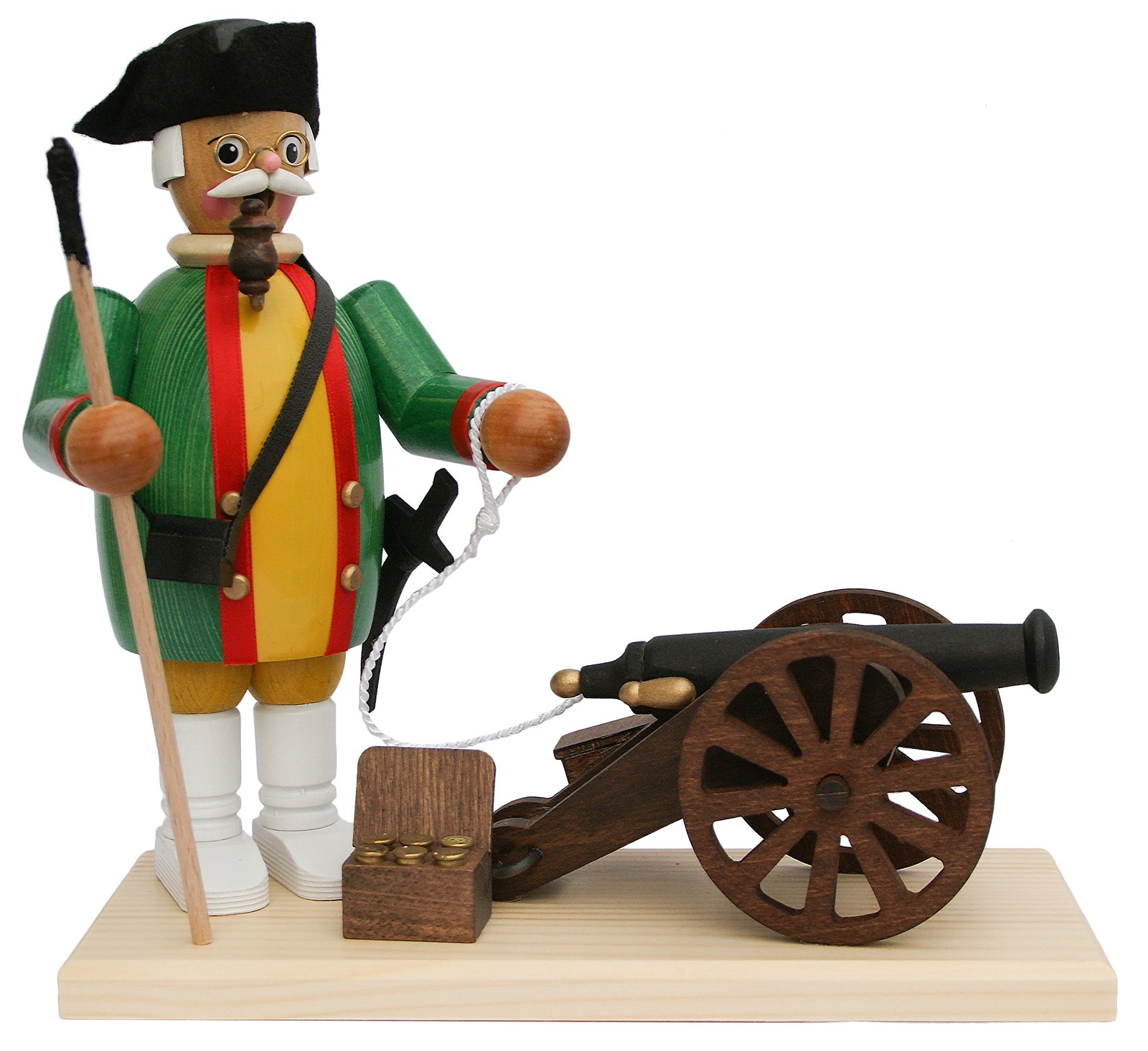 incense smoker, cannoneer with cannon