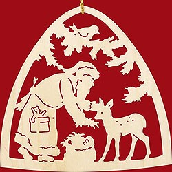window decoration, Santa Claus with fawn