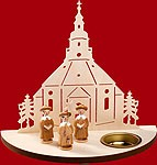 tealight candle Seiffen church with carolers natural