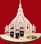 tealight candle Seiffen church with carolers black