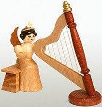 angel with harp, natural, small
